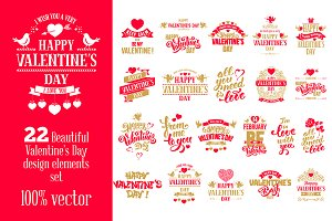 Valentine's Day Badges Set