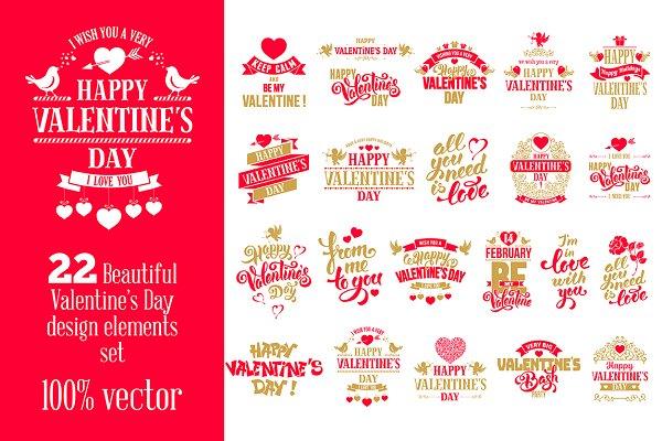 Valentine's Day Badges Set