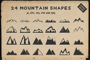 24 vintage mountain shapes