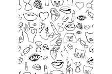 Fashion patch badges seamless pattern