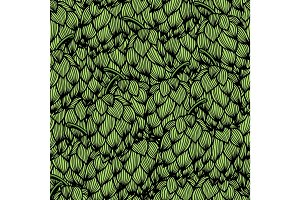 Seamless pattern with green hops
