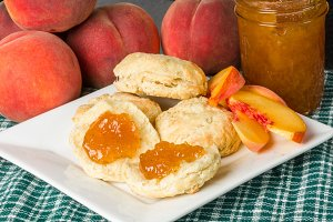 Biscuits with peach jam