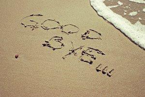 Good bye written on sand