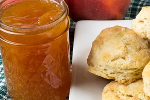 Peach jam or jelly with biscuits