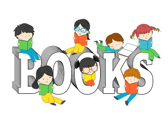 Children reading on books text ~ Illustrations on Creative ...