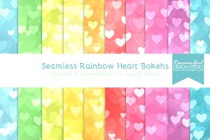 Seamless Rainbow Heart Bokehs