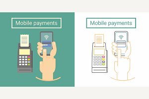 Mobile payment icon design concept
