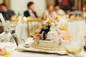 Figures of newlyweds on the cake