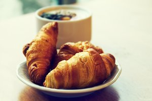 Fresh tasty breakfast with croissant