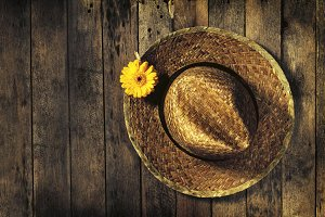 Spring concept with straw hat, above