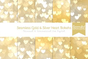 Seamless Gold & Silver Heart Bokehs