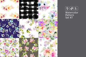 9 watercolor seamless patterns #7