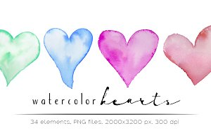 Watercolor hearts - 34 elements