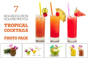 Tropical cocktails isolated photos