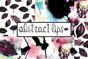 Abstract lips watercolor patterns.