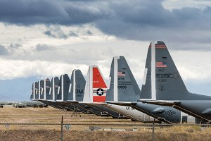 Tails of retired air force planes in Tucson