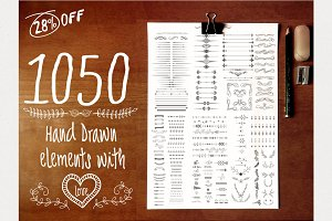 1050 Hand Drawn Elements with Love