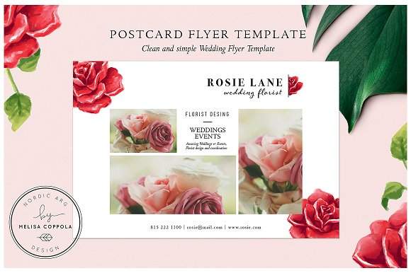 red roses postcard flyer template flyer templates creative market