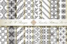 16 B&W Seamless Baroque Florals #2