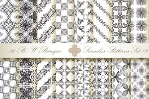 16 B&W Seamless Baroque Florals #2