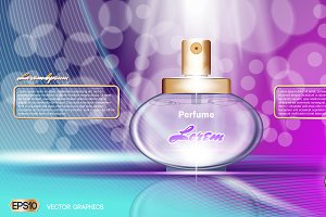 Vector blue and purple perfume mocku
