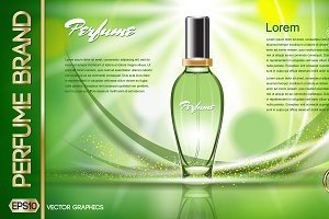 Vector green women perfume mockup
