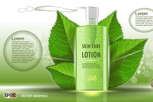 Vector green skin care lotion mockup
