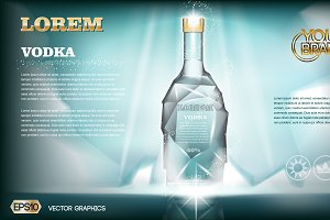 Vector aqua ice vodka bottle mockup