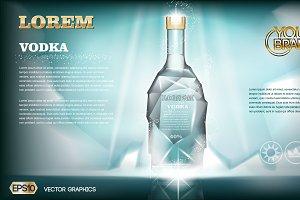 Vector aqua ice vodka bottle mockup