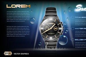 Vector blue metallic watch mockup