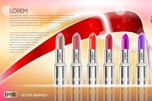 Vector glamorous lipsticks mockup