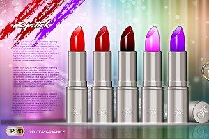 Vector glamorous lipstick mockup
