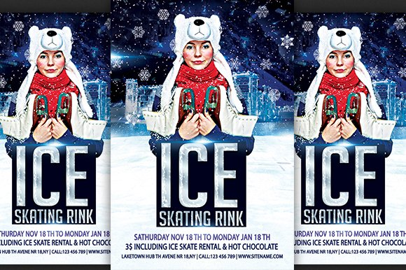 ice skating rink flyer flyer templates creative market