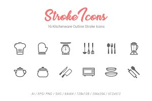 16 Kitchenware Outline Stroke Icons