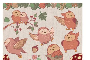 Fall Owls Graphic and Paper Set