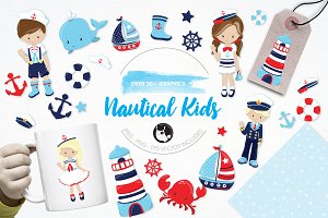 Nautical kids illustration pack