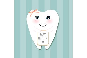 Cute greeting card Happy Dentist Day as funny smiling cartoon character of tooth