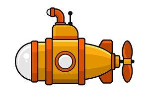 Yellow Submarine with Periscope Icon
