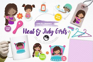 Girls hygiene illustration pack