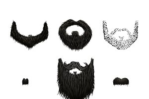 Set of black mustaches and beards
