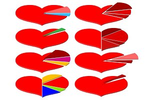 Set of Valentines Day infographics with heart diagram
