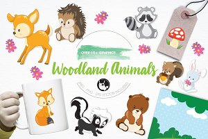 Woodland animals illustration pack