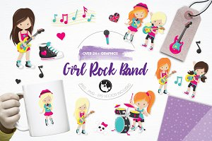 Girl rock band illustration pack