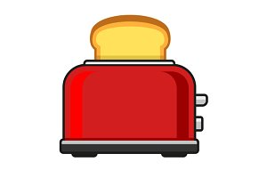 Toasts Flying Out of Red Toaster