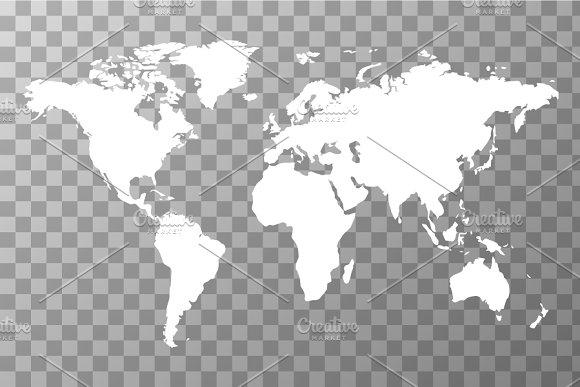 White Worldwide Map Objects Creative Market - World wide map