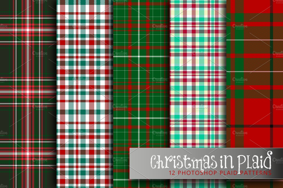 christmas in plaid graphic patterns creative market - Christmas Plaid