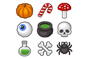 Cartoon style Halloween Icon Set