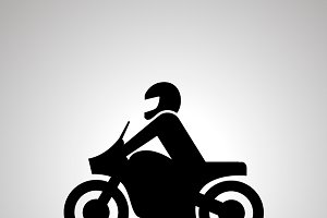 Motorcyclist simple black icon