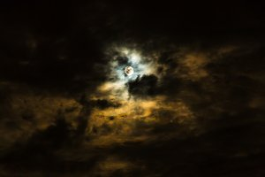 Sky with full moon and clouds