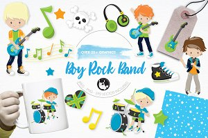 Boy rock band illustration pack